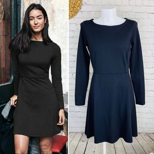 Athleta cozy up black stretch fit and flare dress